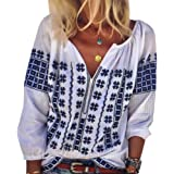 AK Women's Embroidery Mexican Bohemian Cotton Tops Shirt