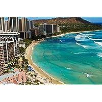 ワイキキビーチの晴れた日 - #44524 - キャンバス印刷アートポスター 写真 部屋インテリア絵画 ポスター 50cmx33cm