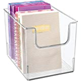 mDesign Plastic Open Front Home Office Storage Bin Container, Desk Organizer Tote - for Storing Gel Pens, Erasers, Tape, Pens