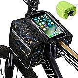 West Bikingバイクフロントフレームバッグタッチスクリーン電話ホルダーバッグパニアダブルポーチヘッドトップチューブ自転車バイクアクセサリパック