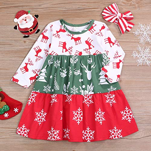 RCPATERN Toddler Baby Girl Clothes Kids Christmas Outfits Long Sleeve Print Dress + Headband Fall Clothing Set 2-3T