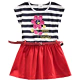 JUXINSU Girl Short Sleeved Dress for Kids Baby Summer Cotton Flower Stripes for 3-8 Years SH5908