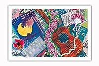 スウィートロケラニ - ハワイアンウクレレ、ロケラニ(ピンクダマスク) - オリジナルハワイ水彩画から によって作成された ペギー チュン - プレミアム290gsmジークレーアートプリント - 61cm x 91cm