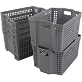 Gloreen Grey Plastic Weave Basket, Portable Stackable Storage Baskets, 6 Packs