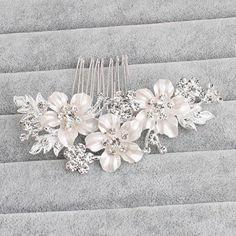 休憩空の再生的Clover Bridal Handmade Wedding Hair Comb Flower Hair Accessories for Bridal (silver) [並行輸入品]