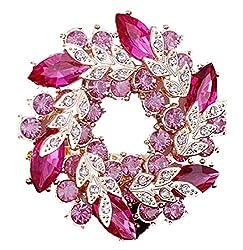 キラキラ 大人 かわいい リース風 ブローチ 神秘的な ピンクパープル