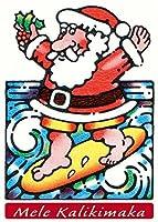 サーフィンサンタ–12のセットハワイアンクリスマスカード