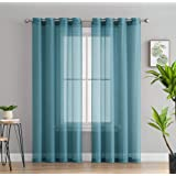 HLC.ME 2 Piece Sheer Window Curtain Grommet Panels (Aqua Blue (Teal)) 54 x 84 Each