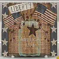 Liberty Primitive Patriotic Mildew Proofポリエステル生地防水浴室カーテンライナー付きフック60 x 72inch 165X180 CM