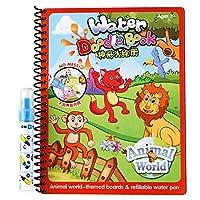 水図面帳fairydreamyユニセックス子供マジック再利用可能なwaterpainting Coloring Book with水ペングラフィティペイントfor Toddlers (動物界)