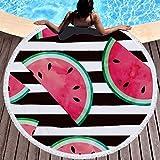 ラウンドビーチタオル100%マイクロファイバーテリー布フルーツ多目的タオルタペストリー風呂水着用ヨガ屋外キャンプマットソファ投げ59インチ (Color : 10)