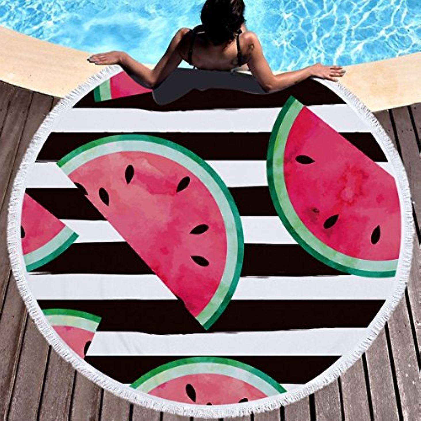 思い出す考案する予想するラウンドビーチタオル100%マイクロファイバーテリー布フルーツ多目的タオルタペストリー風呂水着用ヨガ屋外キャンプマットソファ投げ59インチ (Color : 10)