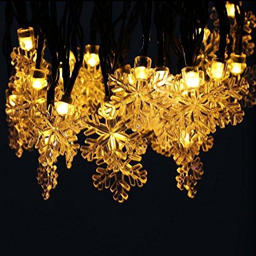 Homecube LEDイルミネーションライト ソーラーライト 30球 雪型 クリスマス飾り パーティー 結婚式 誕生日 明暗センサーライト ガーデンライト 屋内屋外 防水 長さ6.5m 新年祝い (ウォームホワイト)