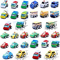 Moonideal プルバックカー 幼児用 26ピース おもちゃの車 パーティーの景品 (プルバック式おもちゃの飛行機/車/バス/マシノップ車/警察車