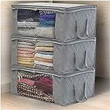 3PCS Home Foldable Zipper Storage Bag Clothes Bedding Pillows Quilt Organizer Comforter Blanket Space Saver Bags Anti-Mold (G