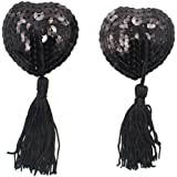 Senchanting Reusable Silicone Sequin Adhesive Nipple Cover Pasties Bra with Tassel
