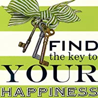 Oopsy Daisy Find the Key to your Happiness Stretched Canvas Wall Art by Shelly Kennedy 14 by 14-Inch [並行輸入品]