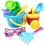 MagiDeal 9pcs Sand Water Beach Sandpits Toy Tools Kits Bucket Shovel Rake Glasses Watering Can for Baby, Kids and Toddler Pla