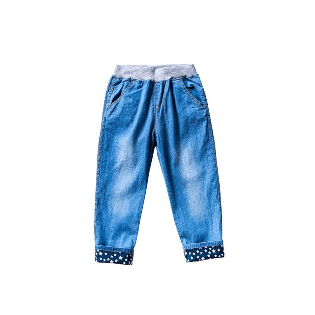 46139b042b967 デニムパンツ キッズ ボーイズ ガールズ 男女兼用 ロングパンツ ウェストゴム ゆったり 薄て 長ズボン