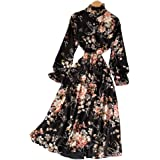 XFKLJ Dresses for Women Vintage Floral Print Stand Collar Chiffon Dress Spring Summer Midi Long Party Women Elastic Waist Ves
