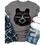 LORSU Women Mama Bear T Shirt Funny Sunglass Graphic Tees Best Mom of Boys Girls Shirts Cool Mom Mothers Day Tunic Tops