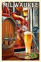 ミルウォーキー、ウィスコンシン–ビールのアート 9 x 12 Art Print LANT-80949-9x12