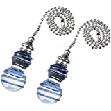 uxcell Clear and Blue Drizzle Glass Pendant 12 inch Brushed Nickel Pull Chain for Lighting Fans Pack of 2