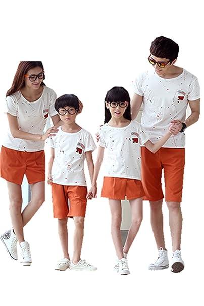 Mchild 親子お揃い服 半袖Tシャツ&パンツの2点セット ペアT
