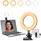 Kimwoodミニ型LEDリングライト 4.5インチ高輝度5色モードリングライト オンライン会議ライト 女優ライト 照明卓上クリップ式 ビデオカメラ撮影 USB給電式 Web会議/Zoom/テレワーク/自撮り補光/美容化粧/ビデオカメラ
