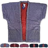 久留米手づくり 刺繍婦人やっこ7320袖なし半天5色(はんてん・半纏)どてら 丹前 ポンチョ 綿絣 パッチワーク