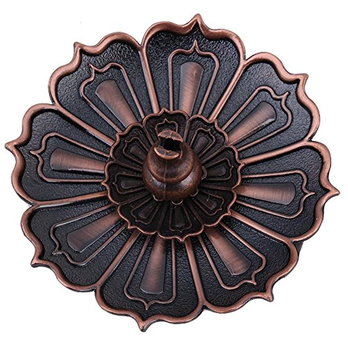 里親モナリザ変装した蓮の香プレートホルダーヴィンテージ香バーナーカバーブロンズ蓮の花とひょうたん型お香ホルダー装飾風水