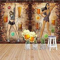 Xueshao 黄色の背景手描きのビールの背景壁グリル装飾壁画ビール家の壁紙カスタム3D壁画-400X280Cm