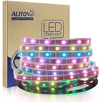 ALITOVE LEDイルミネーション WS2812B アドレス可能 LEDテープライト5050 RGB SMD 5m 150個ピクセル夢色 防水IP67 黒PCB DC 5V