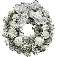 彩か SAIKA LEDリボンリース Mインテリア用玄関飾りホワイト CXO-RL11M LED Ribbon Wreath-Snow White M