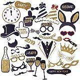 CCINEE 2019 新年 キラキラ 写真ブース 小道具キット 40ピース 大晦日 パーティー 装飾用品