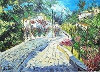 リビング絵画 油絵 マルコ 作 「白い道と家並」インテリア 風景