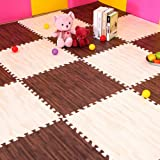 """ESUPPORT Wood Texture Puzzle Playmat 6 Tiles (Each Tail 12"""") Safe Soft Foam Baby Play Mat Exercise Floor Mat, White and Deep"""