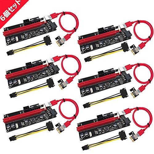 『N.ORANIE USB 3.0 PCI-E Express PCI-E 1X to 16X ライザー エクステンダーカード USB 3.0 PCI-E Express 拡張子ケーブル ビットコイン採掘 マイニング 4pin 6Pin PCI-E 6個セット』のトップ画像