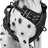 PoyPet No Pull Dog Harness, Reflective Vest Harness with 2 Leash Attachments and Easy Control Handle(Black,L)