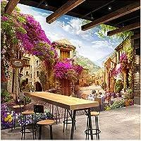 Xbwy カスタム3D壁画壁紙ヨーロッパの町牧歌的な都市風景自然写真壁壁画カフェレストランの背景-250X175Cm