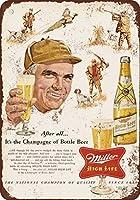 Shimaier 壁の装飾 メタルサイン ウォールアート - 1954 Miller Beer and Pheasant Hunting 縦40×横30cm ヴィンテージ風 ライセンスプレート メタルプレート ブリキ 看板 アンティーク レトロ