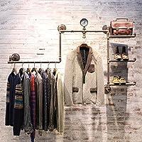 浮遊式棚 コートラックレトロ鉄配管プレート衣類ラックハンギングスタンド衣類ラックハンギングハンガー 工業用壁フレーム