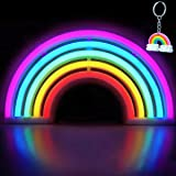 XIYUNTE LED Rainbow Night Lights - Neon Sign Wall Lights Battery and USB Operated Light up Sign Rainbow Signs Bedside Table L
