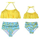 Mother and Daughter Swimwear Family Matching Swimsuit Mamy and Me Two Pieces High Waist Falbala Bikini Sets