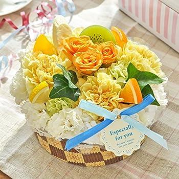 花由 生花のフラワーケーキ 5号<ホールタイプ>フルーツコンポート 箱レッドリボン お祝い 花 プレゼント ギフト