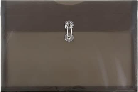 JAM Paper プラスチック冊子封筒 ボタン&ひも留め - レターサイズ&法定サイズ - 1パック封筒12枚 Legal Size グレイ