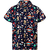 King Kameha Funky Hawaiian Shirt for Men Short Sleeve Front-Pocket Christmas Hats Santa Multiple Colors