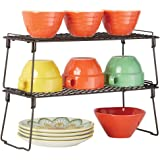 mDesign Metal Stackable Storage Shelf - 2 Tier Raised Food and Kitchen Organizer for Cabinets, Pantry Shelves, Countertops, C