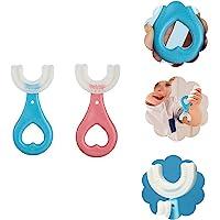 2個のU字型キッズ歯ブラシ、手動幼児用歯ブラシ経口クリーニングツール、2〜12歳の子供向けのフルマウスシリコンソフト歯ブ…