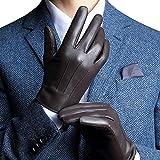 HARRMS 紳士のおしゃれ メンズ レザーグローブ  防寒 裏起毛 スマホ対応 プレゼントに最適 (2XL - 24.89CM, ブラウン)